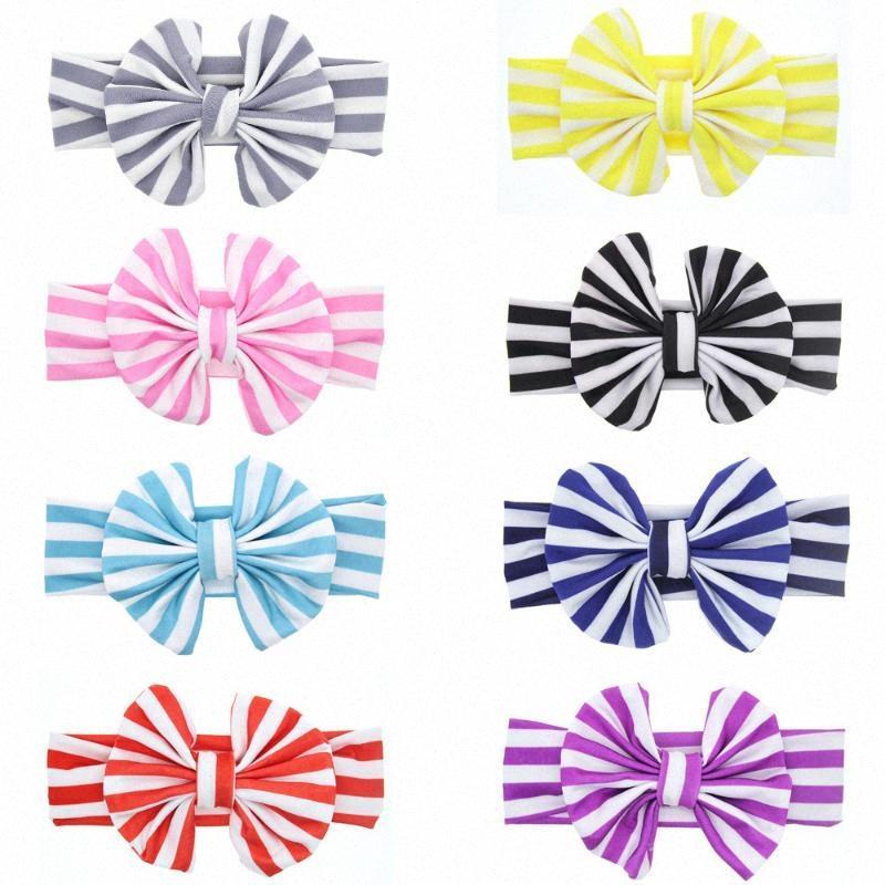 5 adet / lot yumuşak pamuklu kumaş yüksek kaliteli saç aksesuarları elastik saç bandı Çocuklar saç sarma bantları çizgili 7CiB #