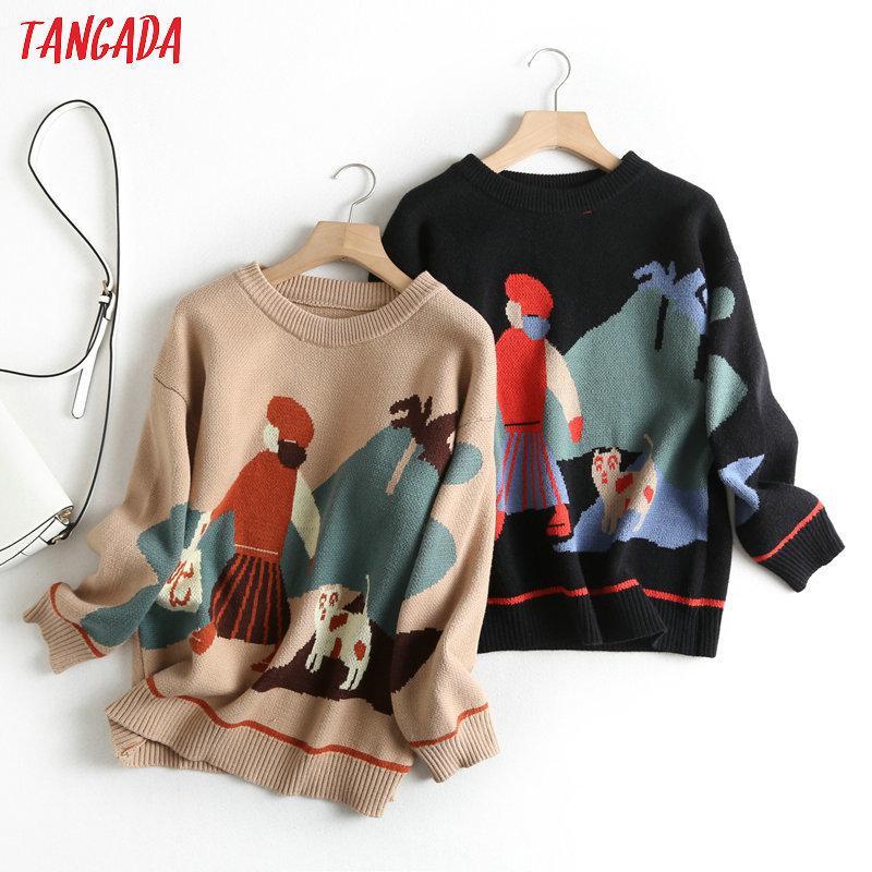 Tangada стиль женщин школы parttern Перемычка свитер Atumn зимней мода длинный рукав О шее пуловеров вершины BC50 201006