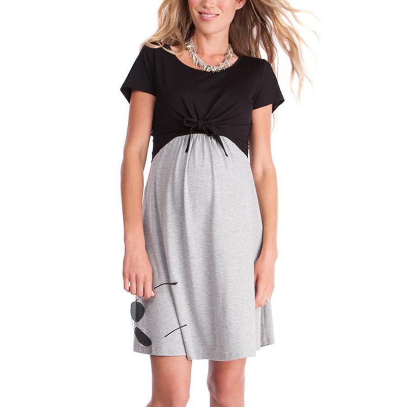Дамы лето с коротким рукавом Черный Серый Материнство Грудное вскармливание платье Беременность Одежда