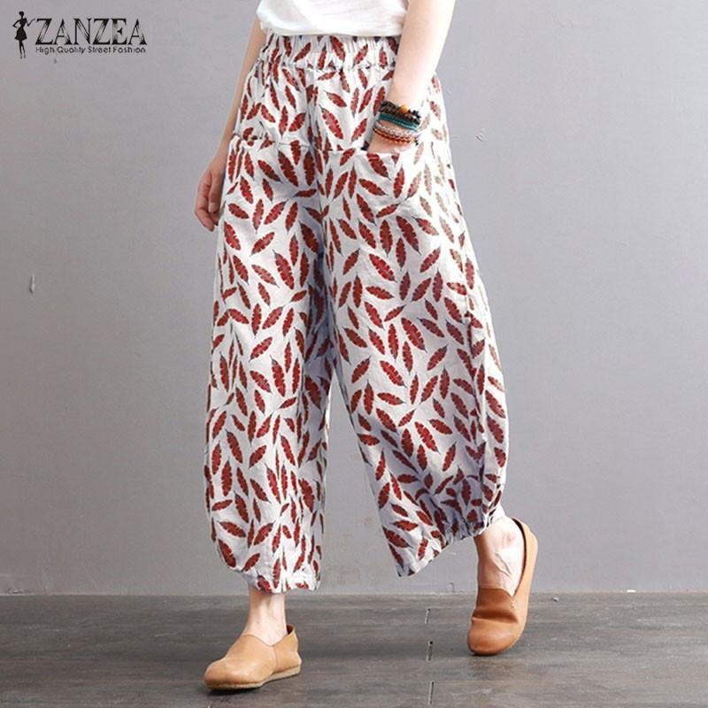 Plus size Pantaloni a gamba larga floreale Pantaloni da donna Pantalon da donna Zanzea Elastico Pantaloni a vita elastica Femmina BAGGY PANT LONG PANTALON S-5XL Y200418