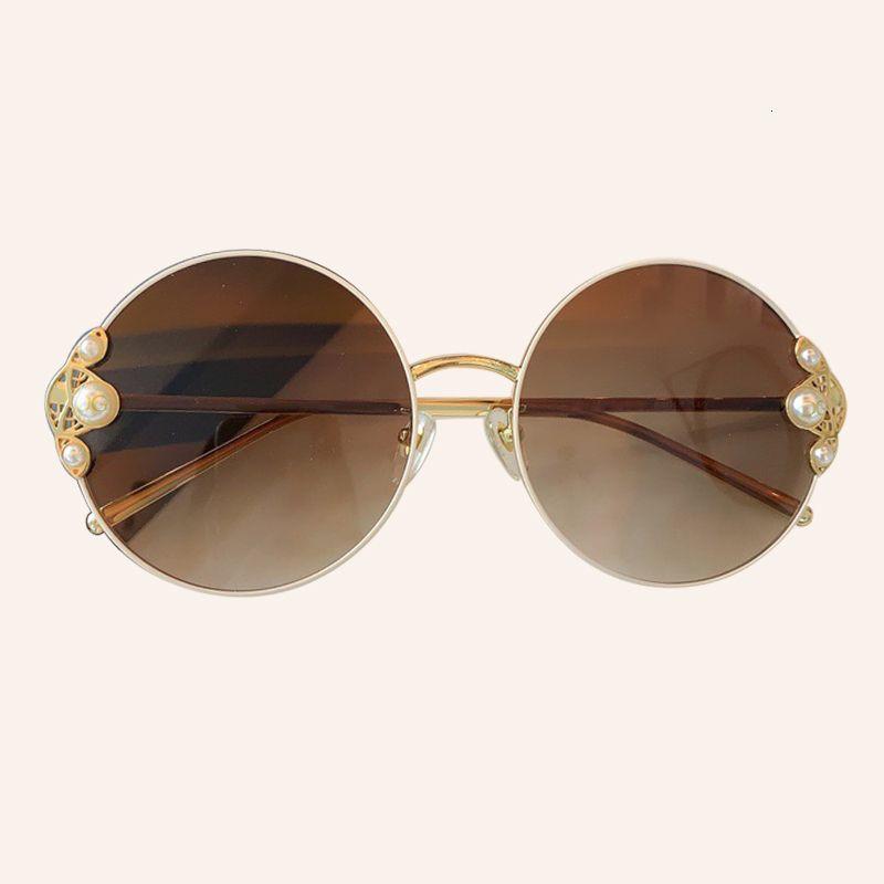Metal Round Glasses Women Fashion With Frame Pearls Uv400 Sunglasses For Sun Ladies Gxqcq