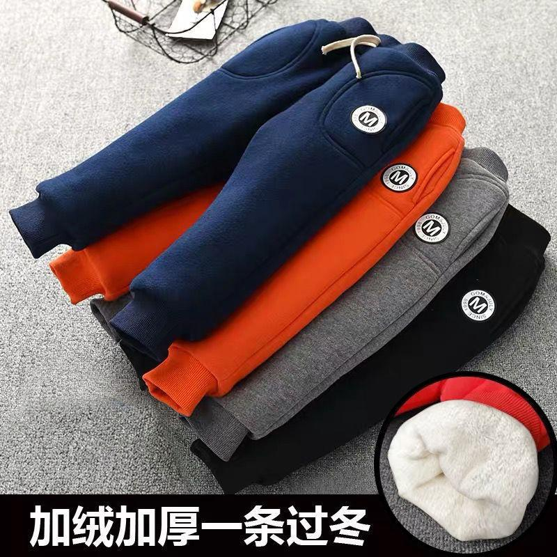 Baby boys Warm cotton pants 0-7 years old Fashion Classic Label letters kids Thickened velvet Winter pants essential warm unisex LJ201019