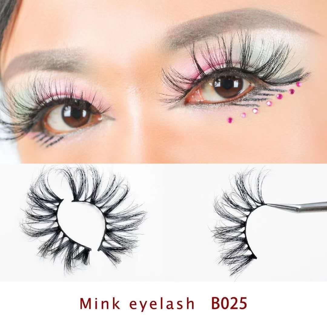25 mm Lashes 3D doux 100% Mink faux cheveux longs cils Wispies Multicouches Fluffy Cils Extensions maquillage main Lashes réutilisables 5D