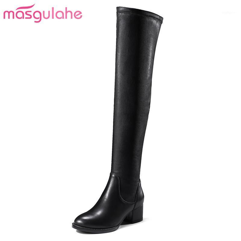 Masgulahe over the knee boots round toe look slimmer winter boots thick heels zipper genuine leather simple women shoes1