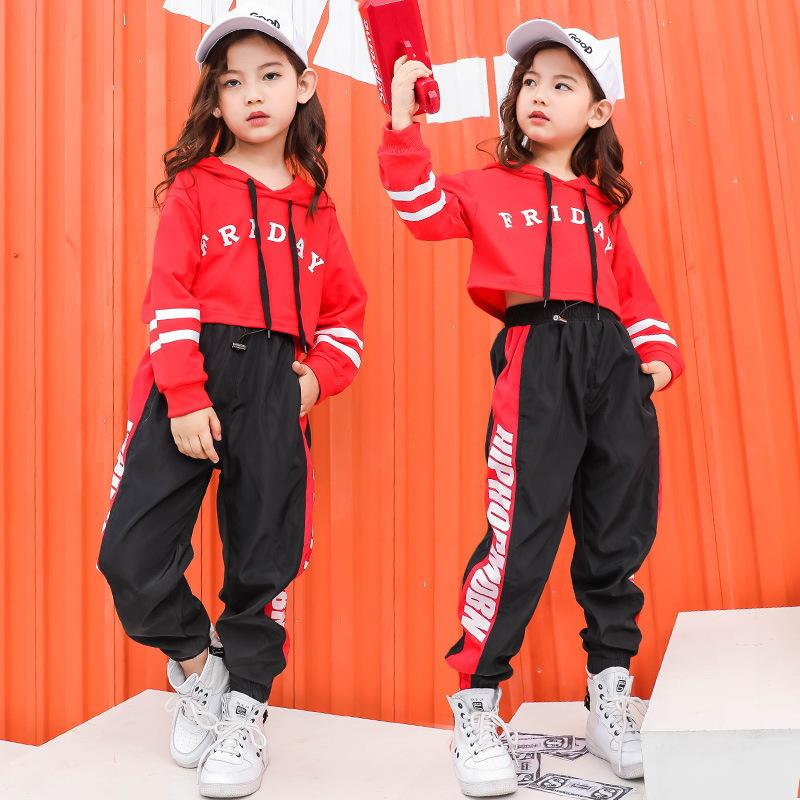 Roupas de moda hip hop para crianças de algodão adolescente dois pedaço conjunto kids streetwear tracksuit meninas hip hop dança camisolas 20116