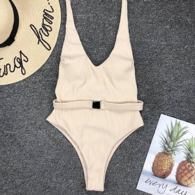 2020 Kadın Tek Parça Yüzme Suit Katı Renk Bikini Kayışlı Backless Plaj mayoları