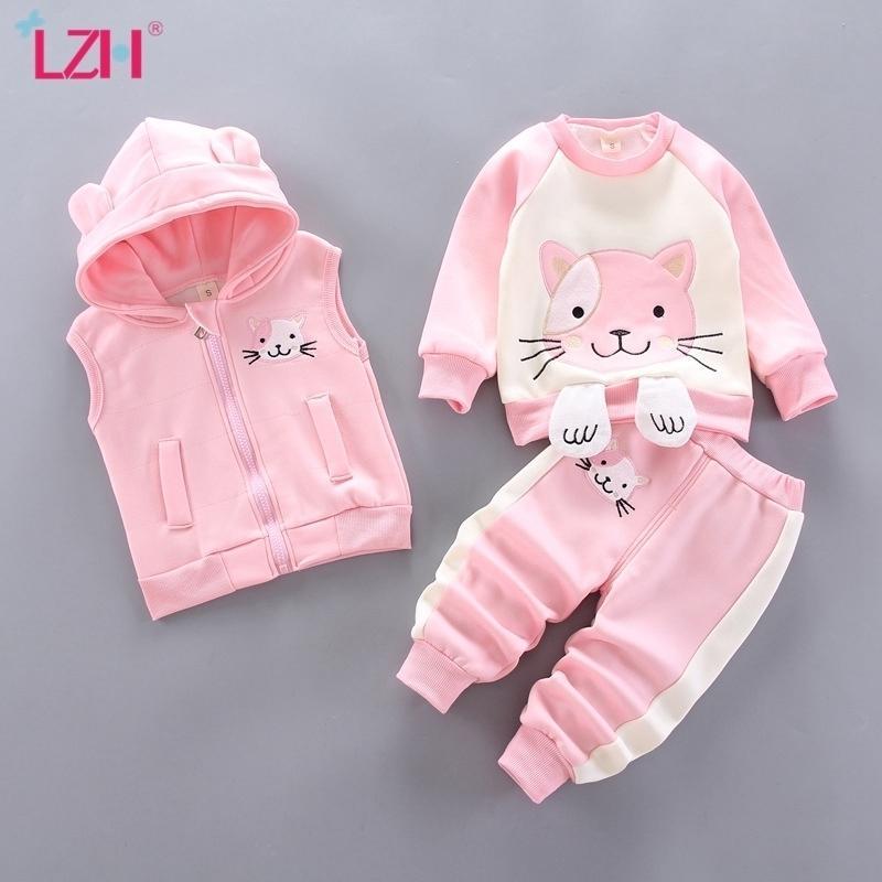 ЛЖ осень зима милые мультфильмы кошка детская одежда для девочек плюс бархат новый трексуит для детей с капюшоном Baby Boy 0-4 года 201126
