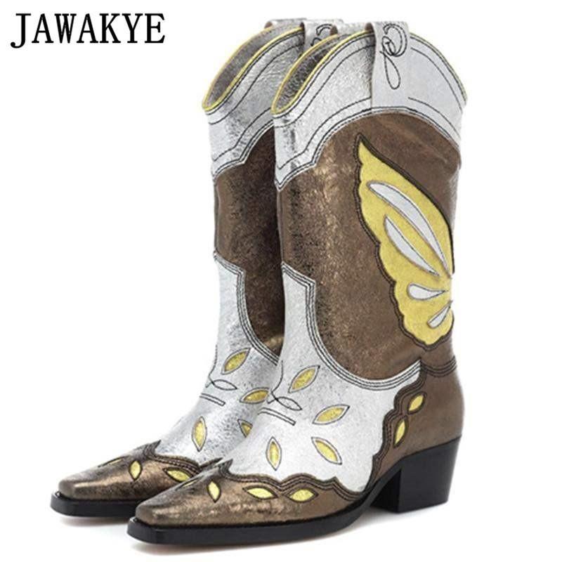 Mode sticken Schmetterling Gladiator Knight Boots Frauen bequeme beiläufige Platz Heel-Schuhe Frau Western-Cowboy-Stiefel Botas Mujer