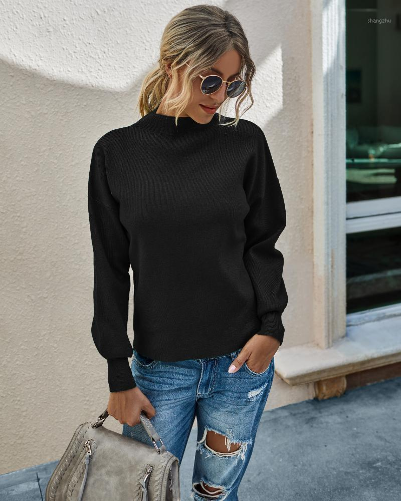 Hot selling winter fashion versatile solid color knitted pullover women's sweater1