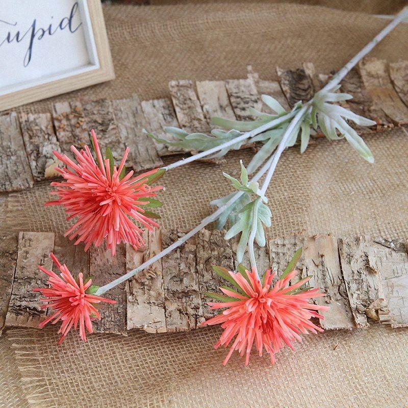 Artificial flower small fresh 3 flocking pole crab claw chrysanthemum wedding home living room decoration fake flower VJc1#