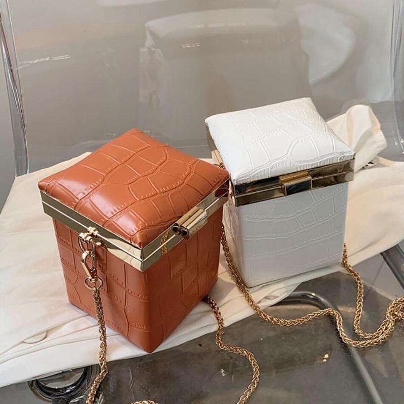 Cross Body Crocodile Pattern Mini Box Crossbody сумка 2021 Высококачественная PU кожаная женская дизайнерская сумка цепь плечевой мессенджер