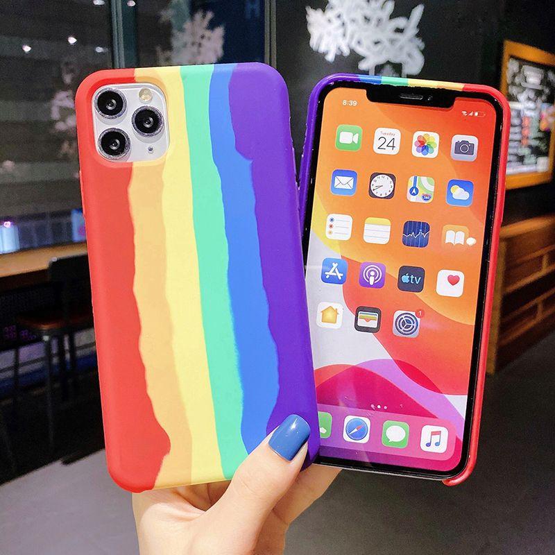Kunst-Regenbogen Liquid Silicone Telefon-Kasten für iPhone 12 11 Pro MAX X XS MAX XR Gel Gummi-Schutzhülle für iPhone 7 8 Plus SE 2020