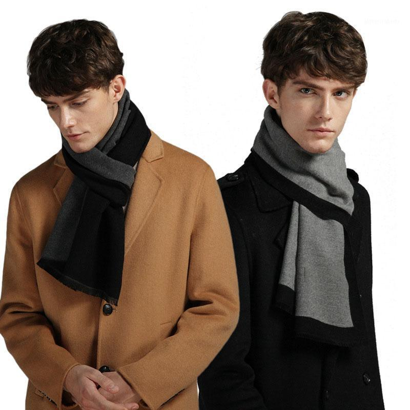 Scarves 2021 Fashion Men Business Scarf Casual Thick Wool European Style Warm Imitation Cashmere Wrap1