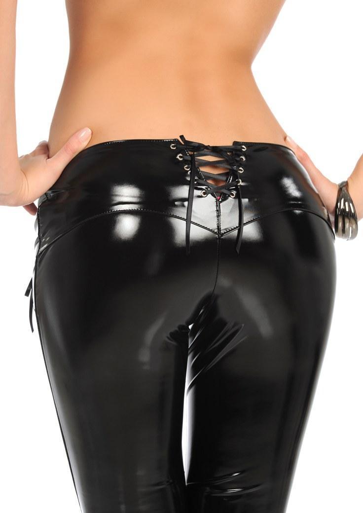 Nuovo sexy matita lattice Pantaloni Faux MAT Pantaloni in pelle a vita bassa benda chiusura lampo della biforcazione Particolare Slim Fashion Club Dance Wear XXL