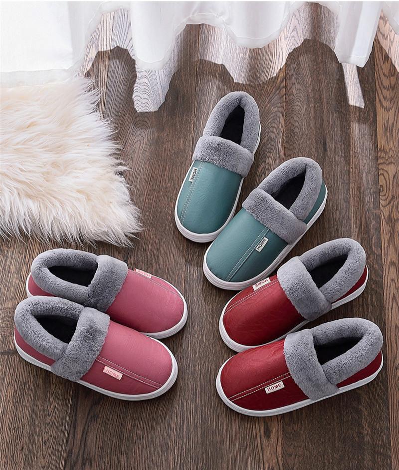 Amantes Shoes Inverno Chinelos casa acolhedora sapatos impermeáveis Fur Mulheres Homens Moda Chinelos Mulheres deslizamento-em couro Loafers Casual