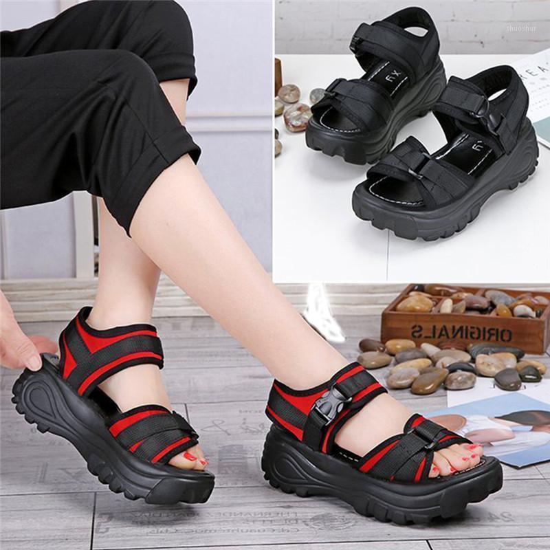 2021 nova moda mulheres plataforma sandálias senhoras casual peep-toe cunhas sapatos mulheres sandalias mujer preto vermelho1