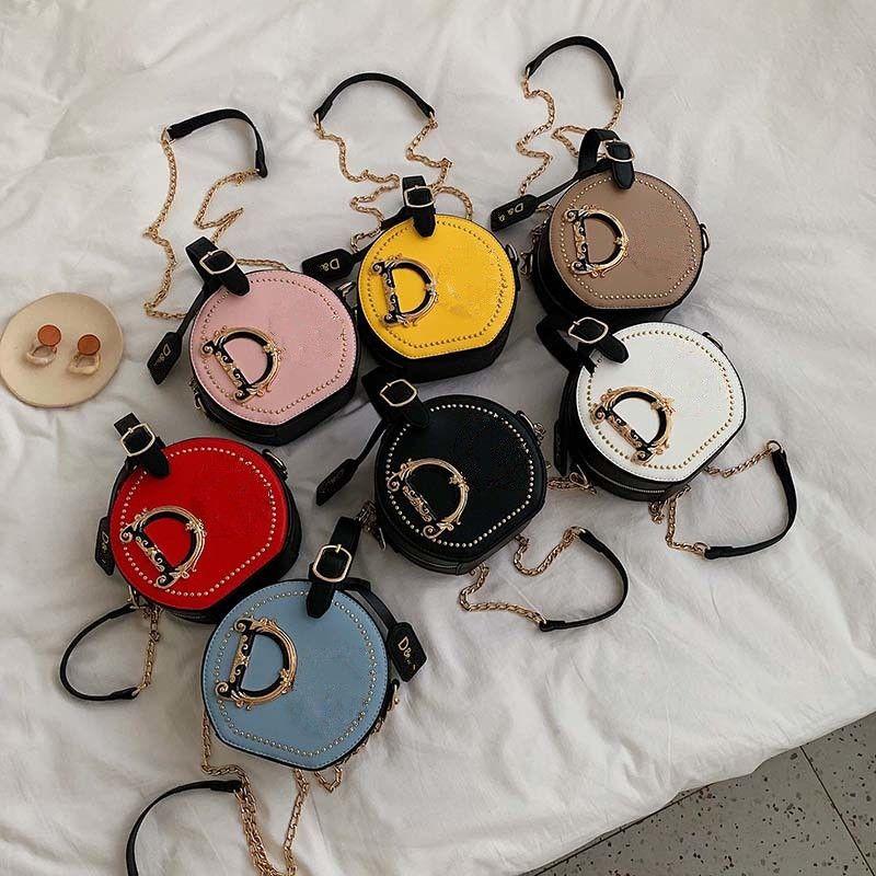 Mode Brief Umhängetaschen D Frauen Crossbody Messinger Tasche PU Leder Runde Totes Handtasche mit Kette Satchel Outdoor Phone Pouch 7 Farben