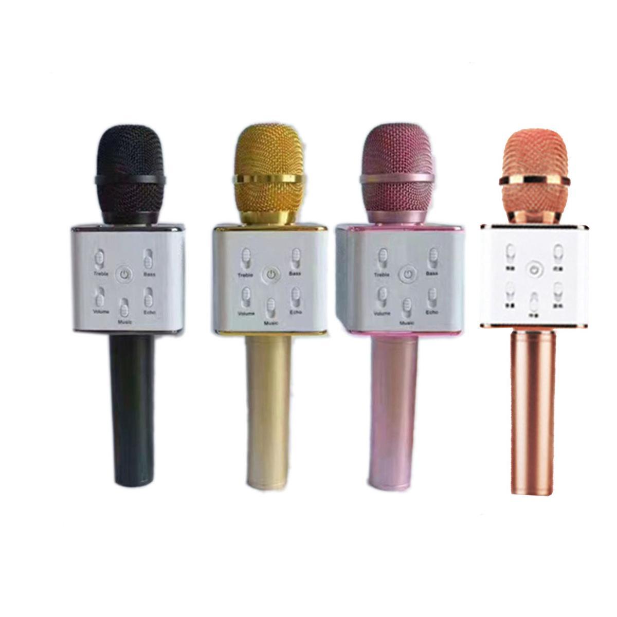 حار Q7 بلوتوث ميكروفون المحمولة المحمولة اللاسلكية ktv karaoke مشغل مكبرات الصوت مع ميكروفون المتكلم لمدة 7 زائد سامسونج s7 dhl