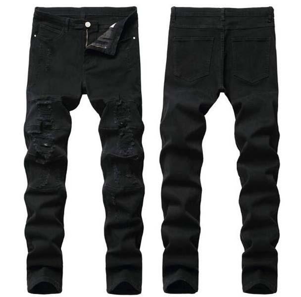 Hommes en détresse déchiré Skinny Jeans Mode Mens Jeans Slim Moto Moto Moo Moo Causal Mens de Denim Pantalon Hip Hop Hommes Jeans