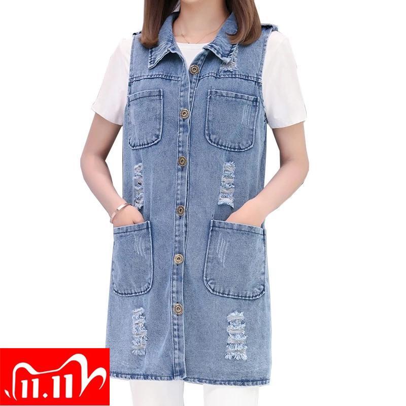 Bayan Denim Yelek İlkbahar Yaz Uzun Delik Jeans Yelek Femme Fahion Kolsuz Casual Ceket Kabanlar Ripped