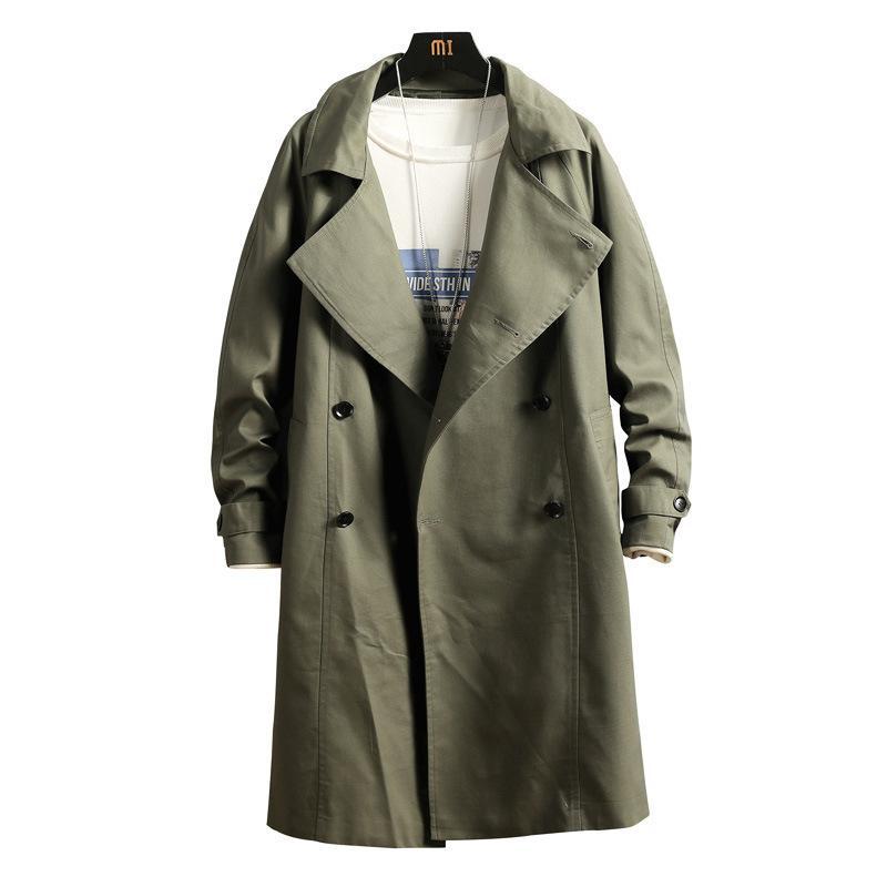 Neue doppelbrechende Trenchcoat Männerjacke Mantel Casual Herren Windjacke Solide Farbe Lange Lose Autumn Mode Graben 201120