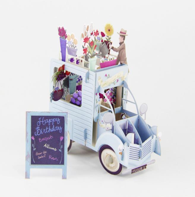 3D المنبثقة زهرة ملونة السيارات بطاقات المعايدة بطاقة عيد ميلاد ليزر قطع مغلف بطاقة بريدية الجوف منحوت يدويا Kirigami هدايا