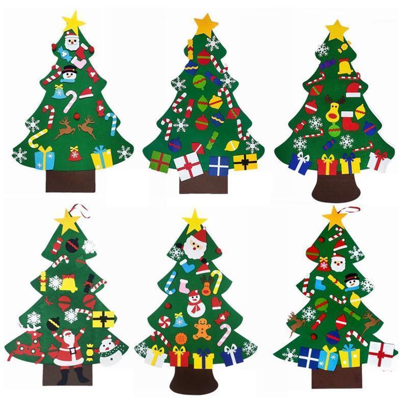 Feltro árvore de natal tridimensional desenhos animados árvore de natal pingente crianças diy1