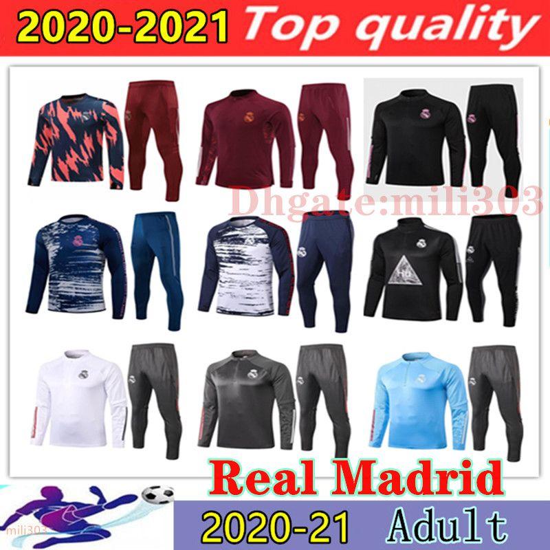 2020 2021 Real Madrid men tracksuit soccer training suit survetement 20 21 camiseta de futbol HAZARD Chandal football 3/4 Jogging tracksuit
