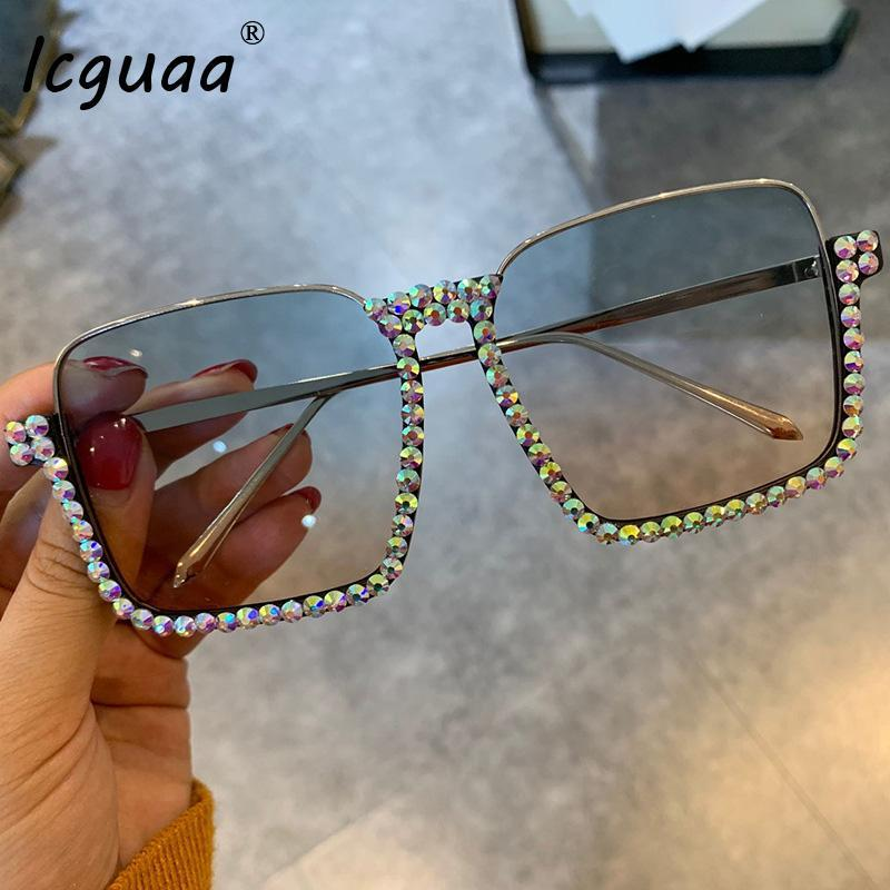 Crystal Diamond Frame Cornice Fashion Femmina Clear Sunglasses Blu Square Mezza Gradiente Lente Elegante Eyewear UV400 WXTWU