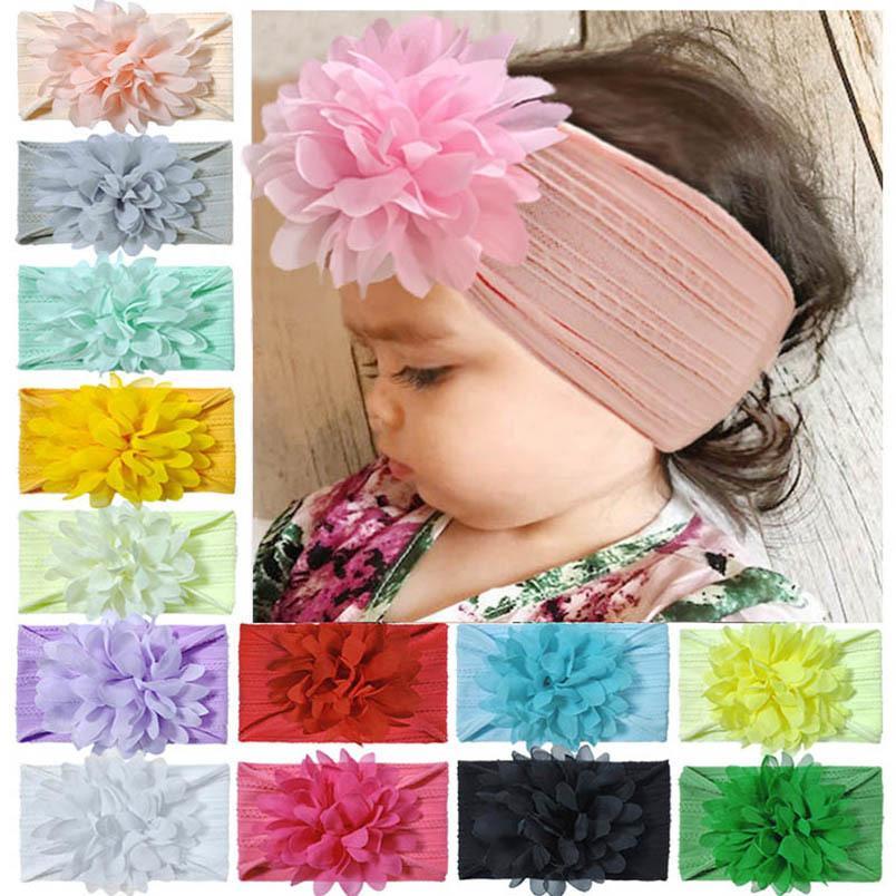 INS Bebé de la flor venda de las muchachas de nylon suaves cintas para la cabeza del recién nacido accesorios de diseño de las vendas del pelo de las muchachas niños dirigen bandas niñas B2021 banda de pelo