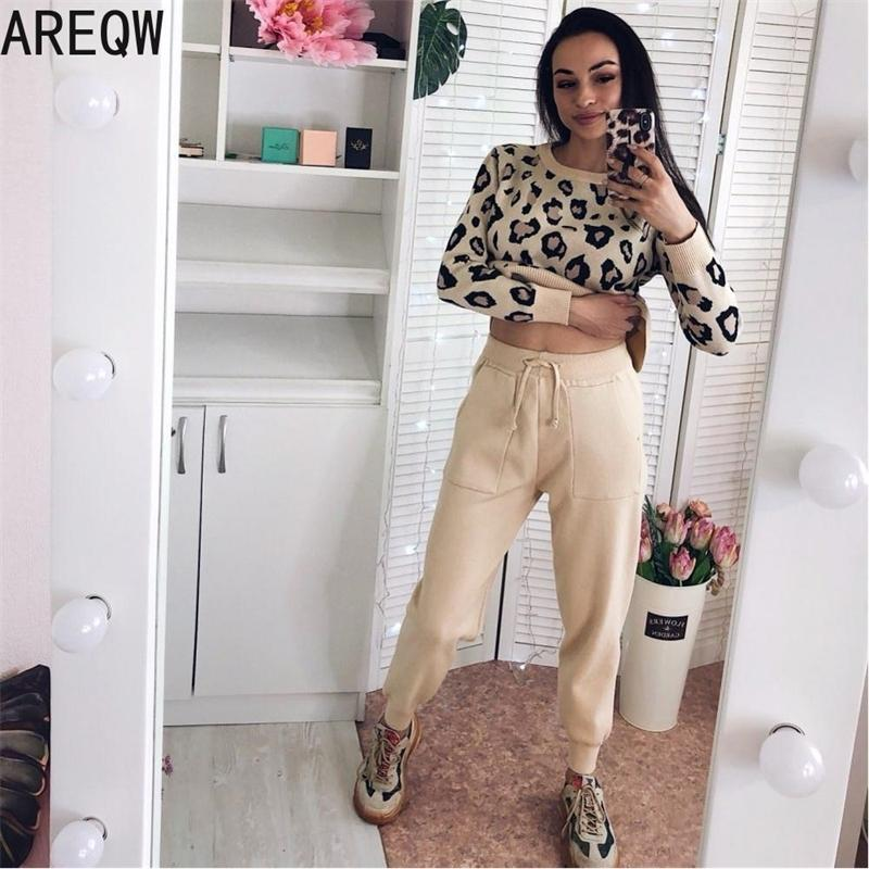 Sweatsuits for Women Knitted Suits Leopard Long Sleeve O-neck Sweater + Elastic Waist Pocket Harem Pants Sets Tracksuit Women 201112