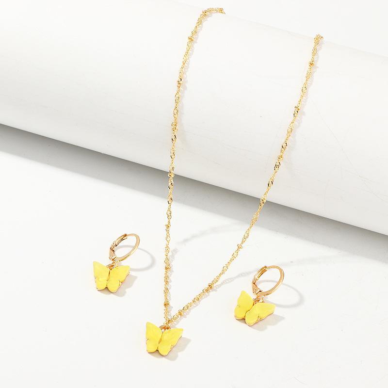 فراشة القلائد والأقراط مجموعة للمرأة بنات موضة الذهب الوردي قلادة أنيقة مجوهرات قلادة الأزياء