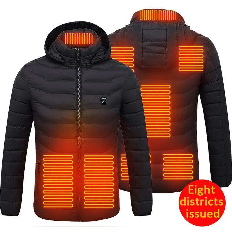 Открытый футболки с подогревом жилетной куртки моющиеся USB зарядки с капюшоном хлопковое пальто электрическое нагревание теплой прогулки кемпинга одежда