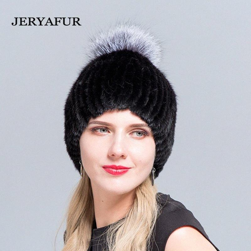 chapeau pour chapeau d'hiver de femme fait de véritables femmes avec les femmes d'argent pompom mode avec pompon de fourrure russe F1gq #