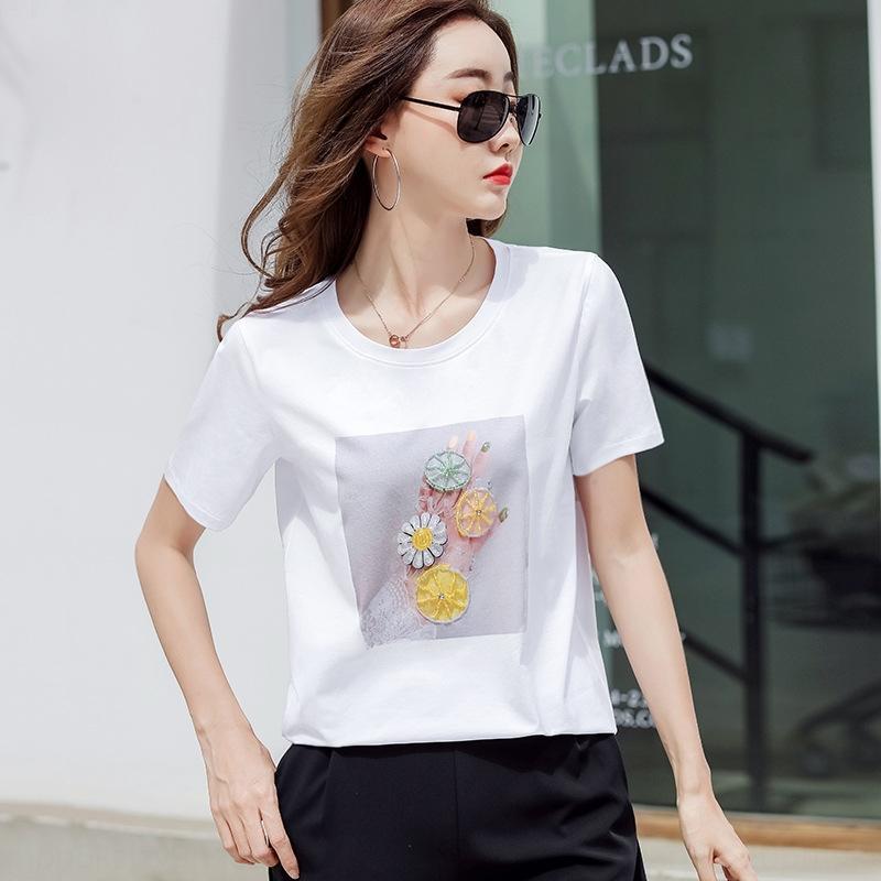 UkYtG 2020 uñas industria pesada nuevos granos Top DiamondManicure de diamante con diamante suelto de manga corta camiseta de las mujeres de la moda de verano para Versati