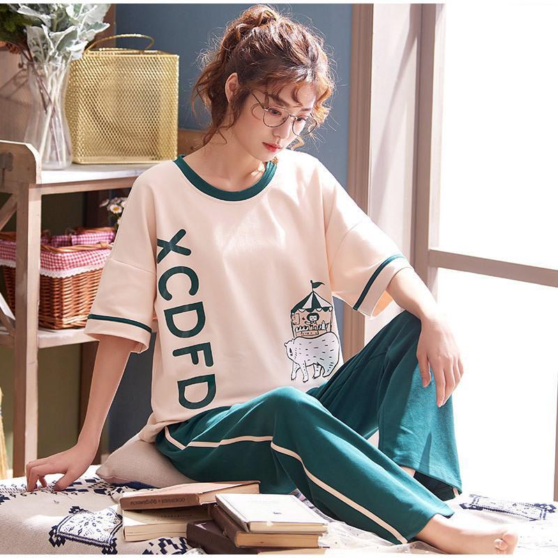 Coreano Cottone Cartoon Stampa stampa 2 pezzi Donne Pigiama Set manica corta Pantaloni lunghi Pantaloni da notte Sleepwear femminile Summer Sweet Lady Home Abbigliamento