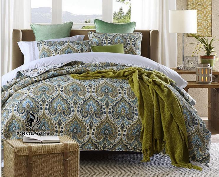 Bej Nakış Yorgan Kral büyük artı Size305 * 300cm pamuk Yorgancılık El yapımı yatak örtüsü waterwash yorgan sac bedcover 3adet Seti