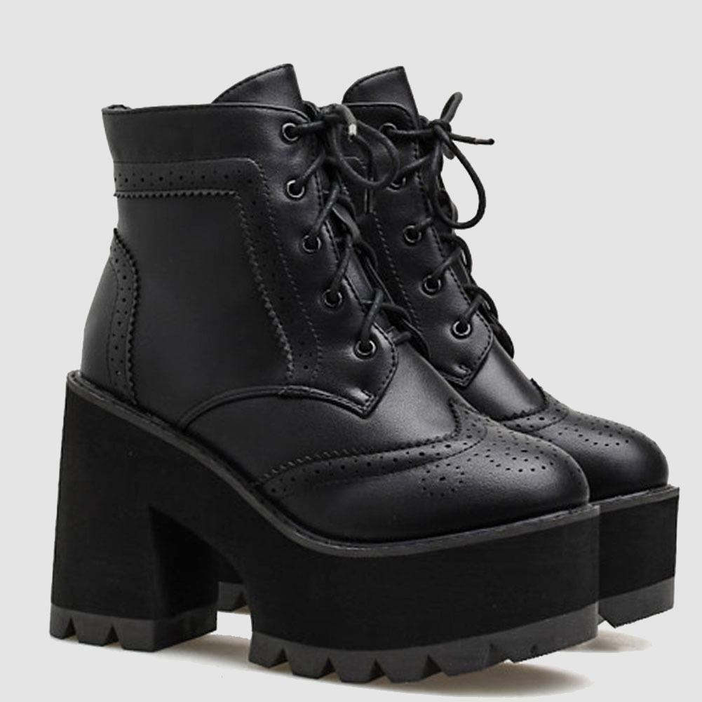 Brand New Schnürsenkeln Herbst Winter Mode lei Brogue Quadrat-Absatzplattform Stiefeletten Schuhe