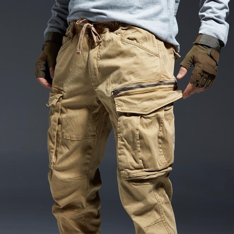 ICPANS Ankle Length Cargo Pants Men Joggers Elastic Waist Zipper Many Pockets Black Army Military Pants Streetwear Fashion LJ201007