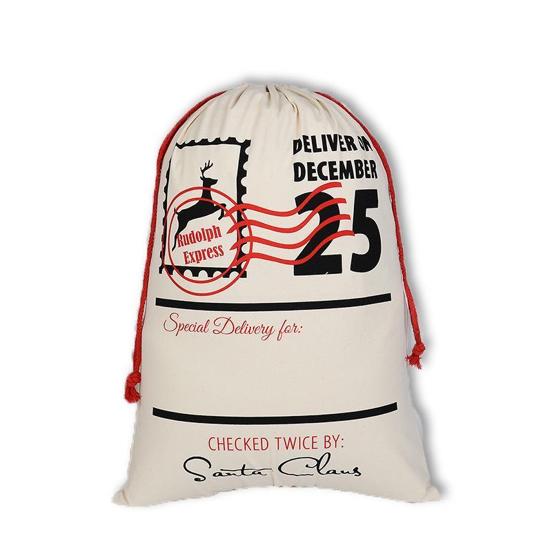 05 hot Factory direct Christmas gift bag Santa Claus drawstring bag cotton drawstring canvas drawstring bag factory