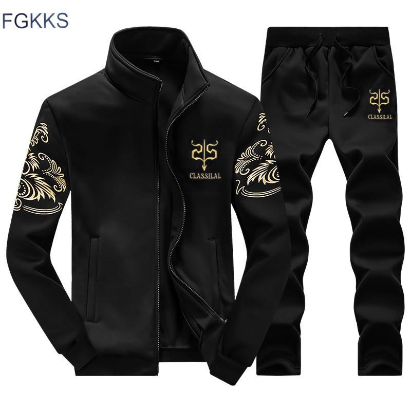 FGKKS Brand Uomini Tracksuit New Fashion Sporting Suit Suit Felpa + Sweatpants Abbigliamento uomo Slim maschile TRACKSUIT LJ201126