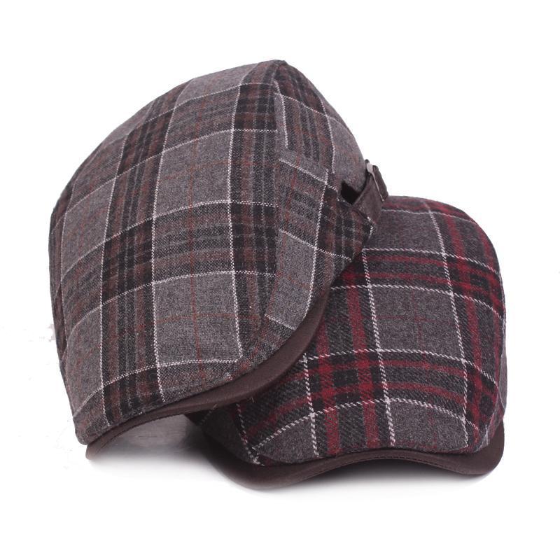 Новая мода шерсть Берет шапки для мужчин Женщин Повседневной Зимних шапок лыски Unisex плед береты Hat регулируемого Утконос Cap