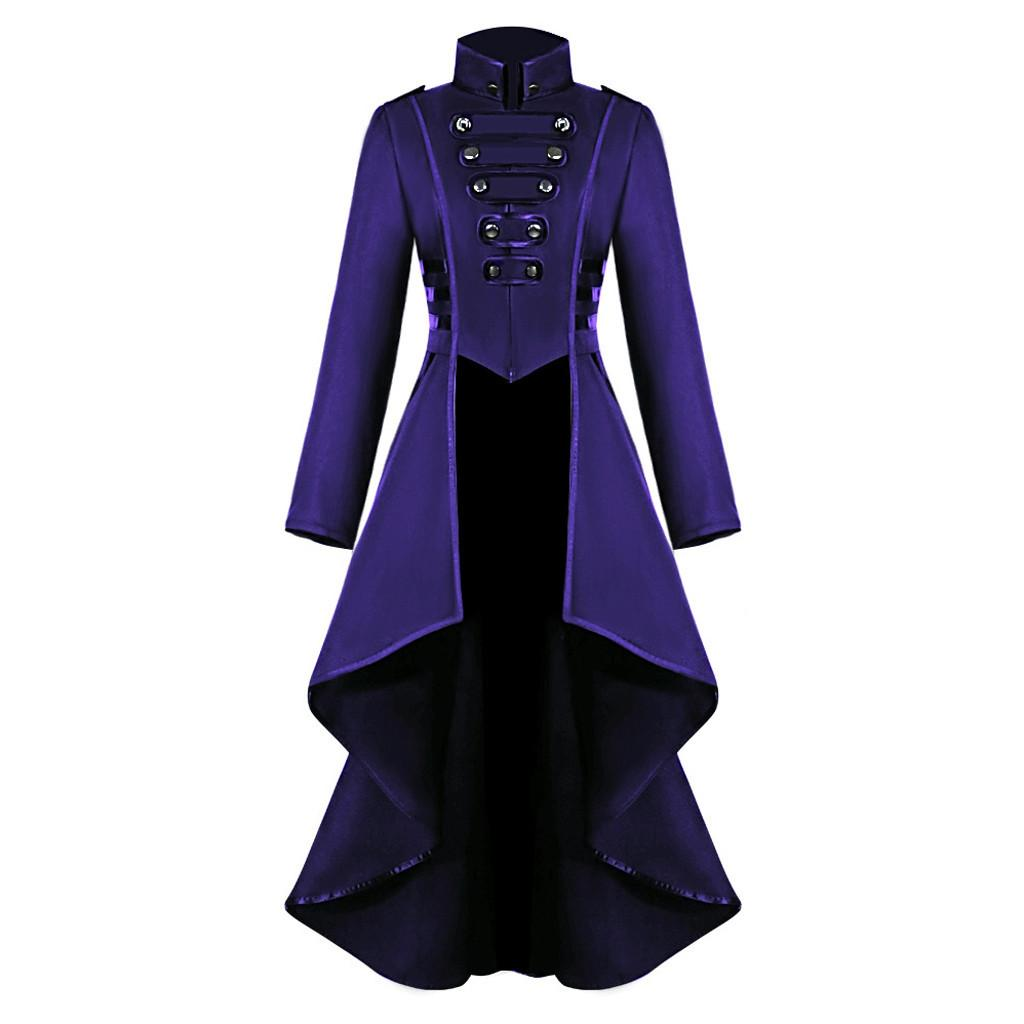 Cosplay Jacket Women Gothic Steampunk Overcoat Button Lace Corset Halloween Costume Coat Tailcoat Jacket #Zer 201015