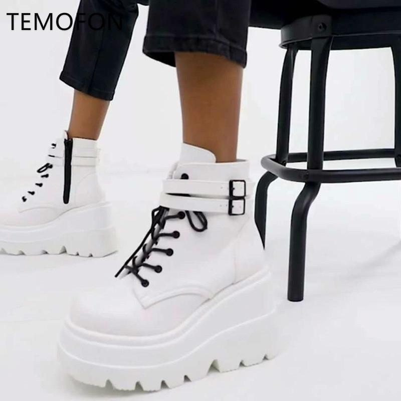 Temofon Kadınlar Platformu Çizmeler Gotik Siyah Beyaz Ayakkabı Bayanlar Lace Up Punk Çizmeler Sonbahar Yüksek Topuk Ayakkabı Kadın Ayakkabı HVT1399 201102
