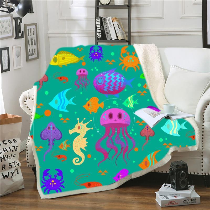 Marine Life Seahorse бросить одеяло мягкое уютное уютное шерпу плюшевые пушистые нечеткие большие маленькие большие диван одеяло спальня декор детей подарки