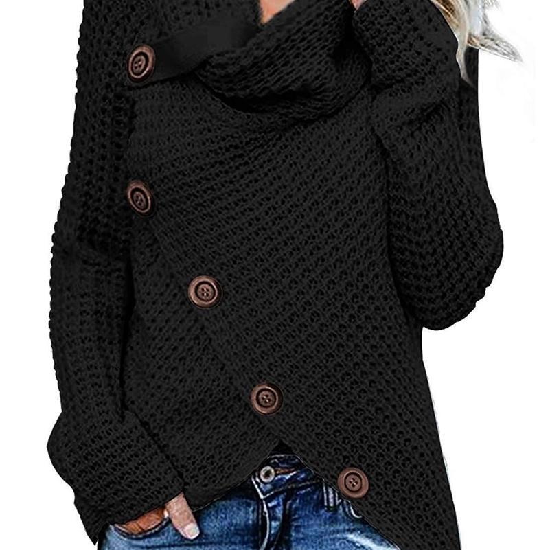 Wepbel 7 Цвет Пуловер Свитер Женская Обернувшаяся Шере Шея Асимметричная Подол Коренастая кнопка Черепаха Плюс Размер S-5XL Y200909