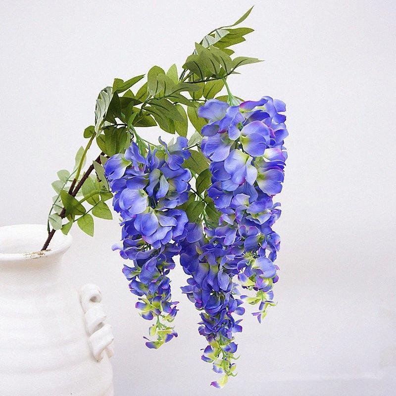 Tallo largo 3heads Rama de flores de wisteria artificial para la decoración de la fiesta de bodas Seda + Plástico Ratán Flores Decoración de jardín Guirnalda 5Ey6 #