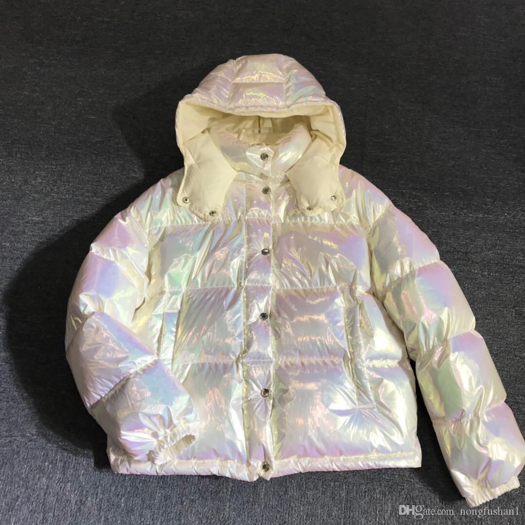 Frauen Oberbekleidung Bunte Daunenjacke Damen Kurzmantel Glänzende Weihnachtsgeschenk Top Qualität Winter Lässige Outdoor Warme Outwear Verdicken Dünndose Farbe Farbverlauf