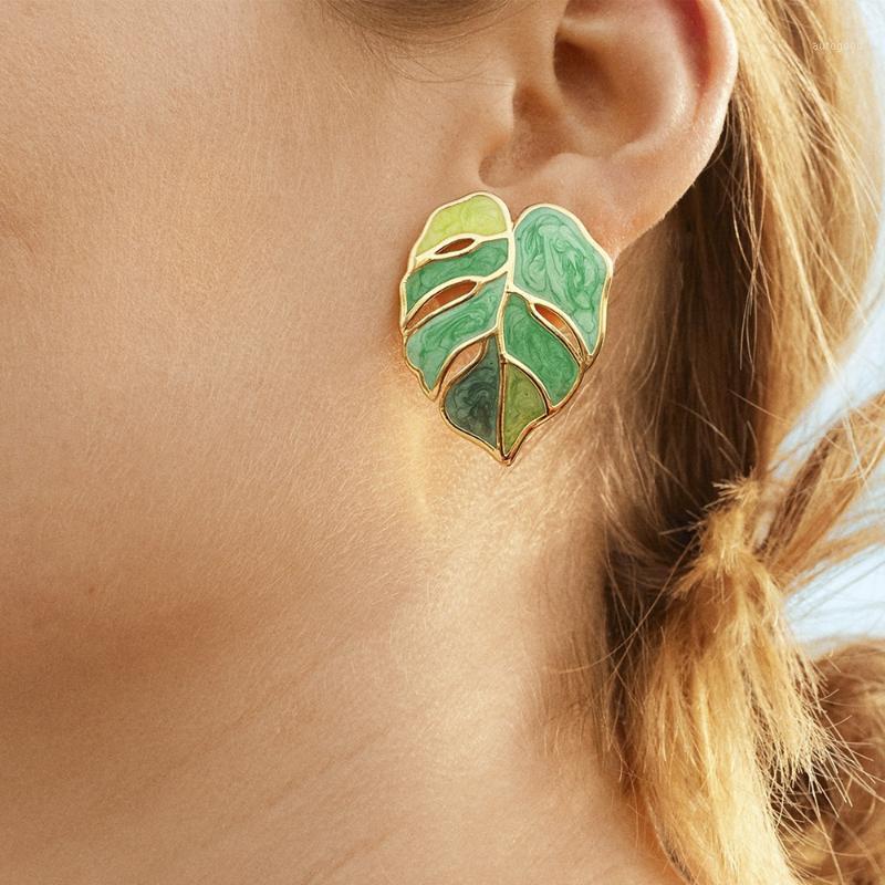 Neue Ankunft Fall Öl Metallblatt Ohrringe Sommer Mädchen Weibliche Damen Mode Große Ohrstecker Grüne Drop Ohrringe Schmuck für Womens1