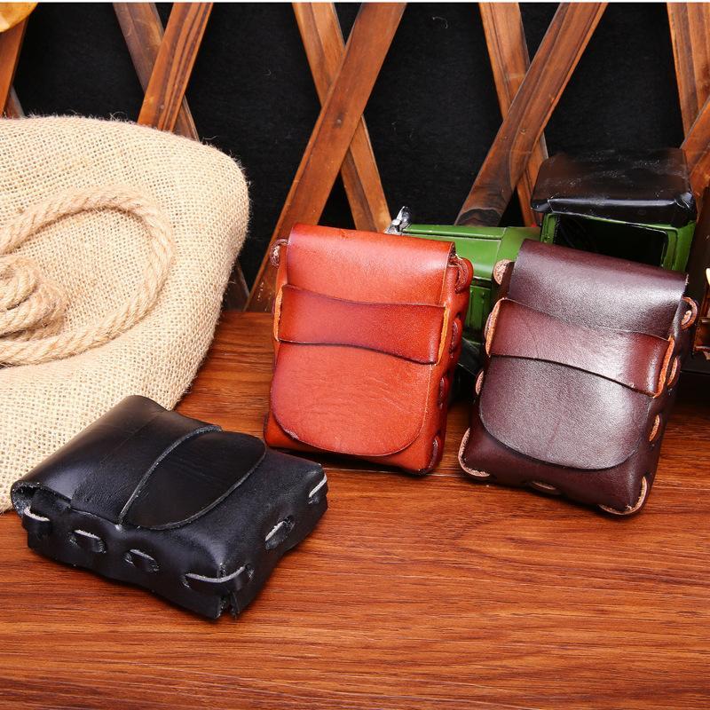 Joyir 2021 Herren Lässige Mode Taillenpackungen Vintage Echtes Leder Zigarettenetui Kasten Fall Geschenkpaket, um einen Gürtel K010 zu tragen